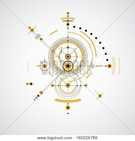 Mechanical scheme yellow vector engineering drawing with circles and geometric parts of mechanism. Technical plan can be used in web design