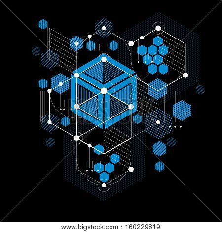 Vector Bauhaus abstract blue background made with grid and overlapping geometric elements circles and striped honeycombs. Retro artwork technology style graphic template for advertising poster.