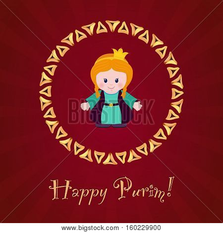 Jewish holiday of Purim. Greeting card with Esther Happy Purim. Vector illustration of fun characters in cartoon style on dark red background.
