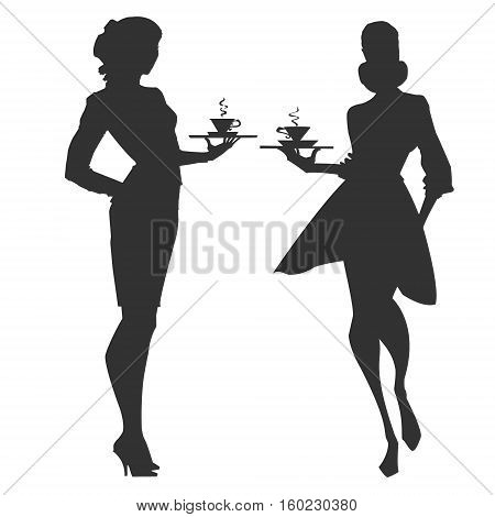 Waitress silhouette with a cup of coffee. Woman approaching with a tray. Elegant waitress helds an order. Vector.