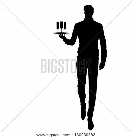 Elegant waiter with a tray. Silhouette of the elegant waiter in a dynamic pose with glasses.