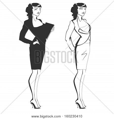 Girl administrator or business lady. Successful woman on administrative position or the manager in a business suit with the tablet. Slender and beautiful business lady. The vector drawing.