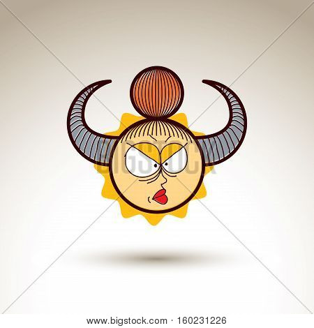 Vector artistic colorful drawing of angry girl with beautiful hairstyle social network design element isolated on white. Childish illustration emotions and human temperament concept.