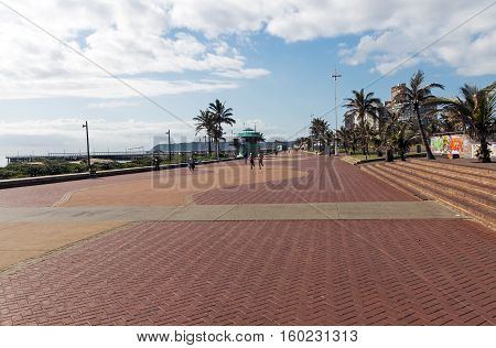 Quiet Early Morning Paved Promenade  Beachfront In Durban