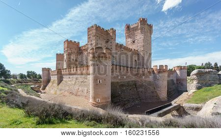 Wide angle view of Castillo de la Mota in Medina del Campo, Castille, Spain