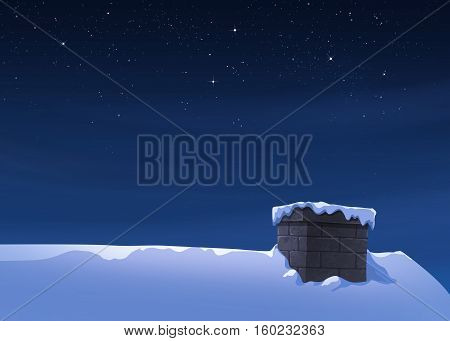 Holiday winter landscape at night. Background with snowflakes on housetop