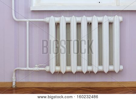 Seven sectional cast iron radiator with ball valve at home