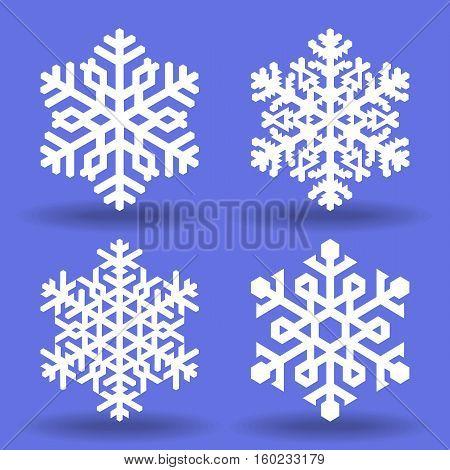 Set of four white decorative snowflakes.Vector geometric pattern.