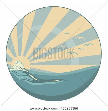 vintage style circle emblem - sea wave and sun rays vector design