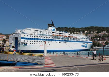 Nice France - August 23 2013: view of the Liner in Port De Nice on August 23 2013 in Nice France.