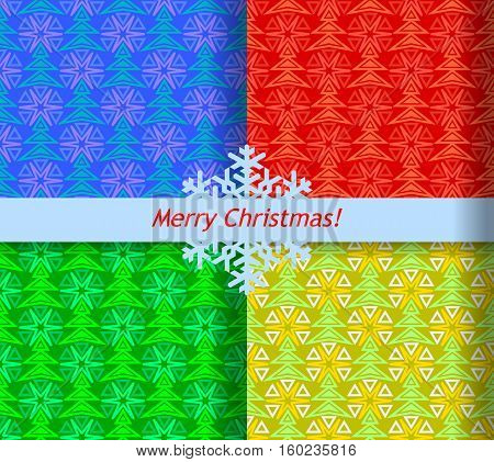Christmas abstract seamless pattern with fir-tree and star. Set of four colors.