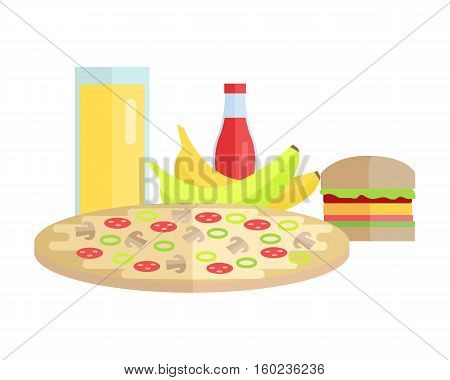 Group of food vector illustration. Flat design. Collection of various food and drink juice, pizza, banana, hamburger, ketchup on white background for diet, menus, signboards illustrating, web design.