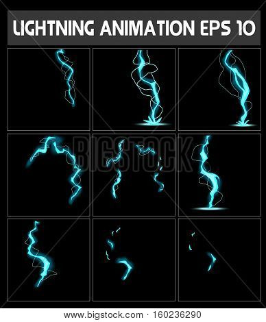 Web lightning animation. A lightning strike to the ground or something else. Game animation.