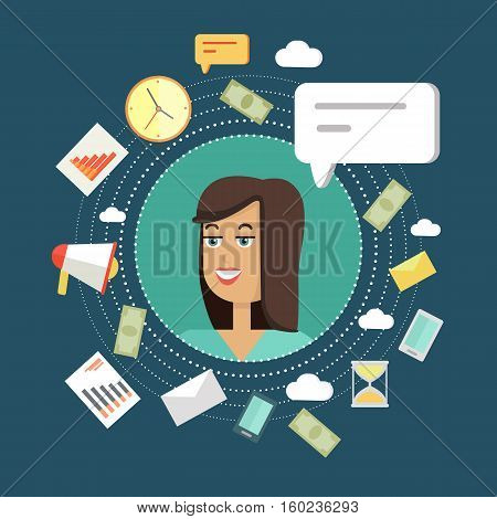 Creative office background. Businesswoman icon with bubble. Avatars of woman with devices for communication. Smiling young female personage in flat on blue background. Vector illustration.