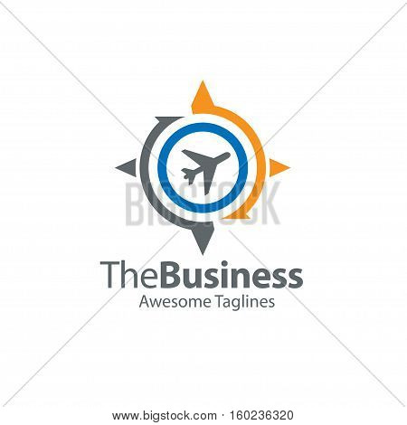 travel navigation, compass and globe with airplane vector concept, travel and world trip logo, flat earth globe with airplane flying
