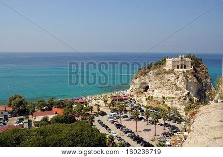 Santa Maria Dell'isola At Sunset - Tropea, Calabria, Italy..santa Maria Dell'isola. Tropea, Calabria