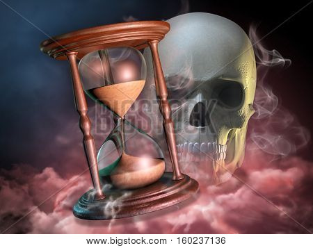 Hourglass and skull composition. 3D illustration.