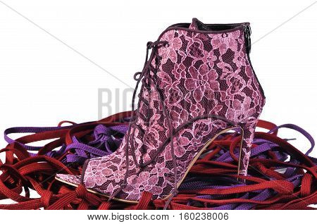 Sexy women's shoes. Red lace ankle boots with hairpin heel