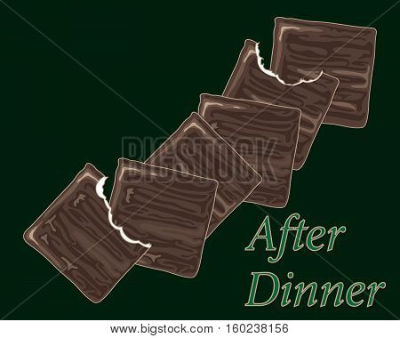 an illustration of traditional chocolate after dinner thin mints with bites on a dark green background