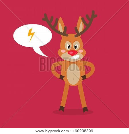 Deer angry with thunderstorm in a speech bubble. Reindeer in a bad mood in flat style design. Cartoon character crossed with somebody. Spiteful mammal character isolated on white. Vector illustration