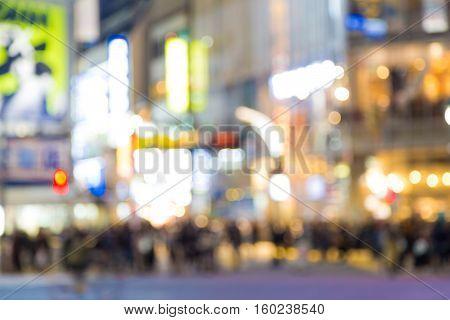 Night Life At Shibuya Street Many People In Tokyo Japan