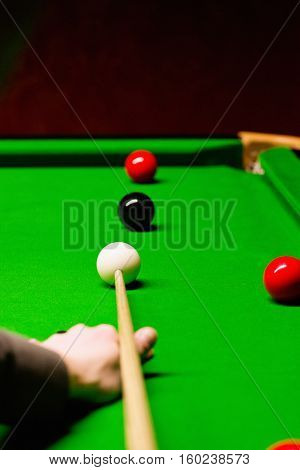 Snooker Shot From Player's Point Of View