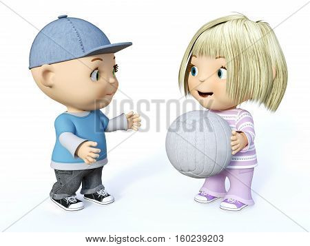 Cute smiling cartoon toddler boy and girl playing with a ball 3D rendering. White background.