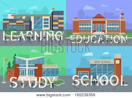 Learning. Education. Study. School. People with letters. Set of school buildings vector in flat design. Architectural variations. Public educational institution. Modern projects of establishments.