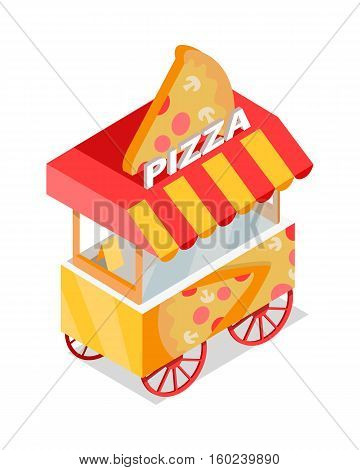 Pizza cart store on wheels isometric projection flat vector icon isolated on white background. Street fast food eatery with italian snacks. For app, infographics, game environment, web design