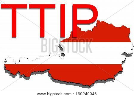 Ttip - Transatlantic Trade And Investment Partnership On Austria Map