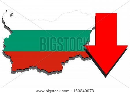 Bulgaria Map On White Background And Red Arrow Down