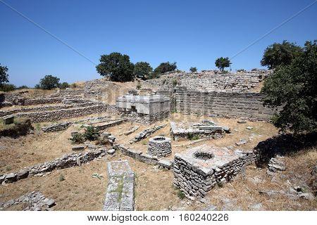 Ancient walls of legendary Troy city, Turkey