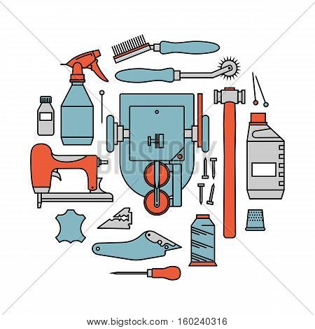 Vector icons set of furrier's tools. Color print on white background
