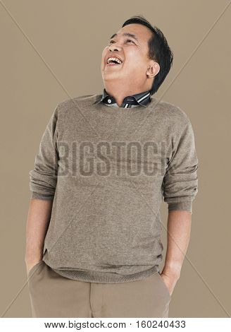 Asian Man Lean Back Laughing Concept