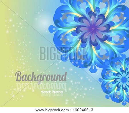 Flower blue card with place for text.