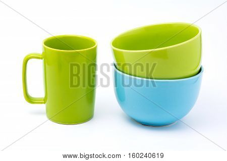 Green Coffee Cup And Light Blue Bowl And Green Bowl