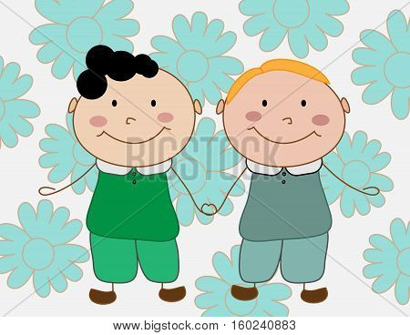Two cartoon boys holding hands on the flowers background.