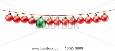 Border Made Of Red Christmas Baubles On Strings