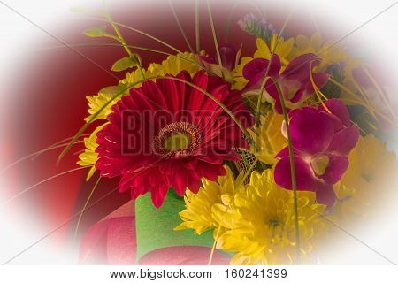Beautiful Bouquet Of Gerbera Flowers And Chrysanthemum On A Different Background.