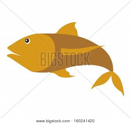 colorufl silhouette with sea fish yellow vector illustration