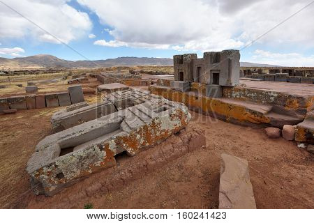 Ruins of Pumapunku or Puma Punku part of a large temple complex or monument group that is part of the Tiwanaku Site near Tiwanaku Bolivia