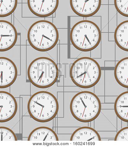 Wall clock seamless on grey. Vector pattern.