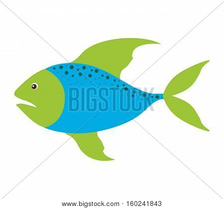 colorful silhouette with sea fish blue and fins green and dots vector illustration