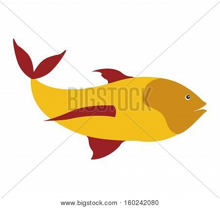 colorful silhouette with sea fish yellow and fins red vector illustration