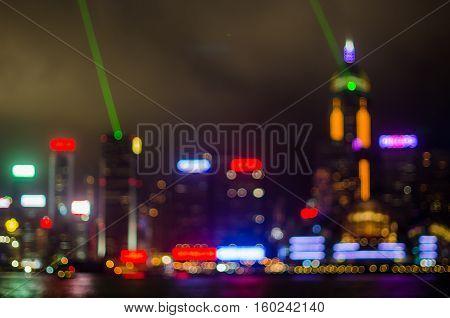 Blur light night view Hong Kong city office building abstract background bokeh