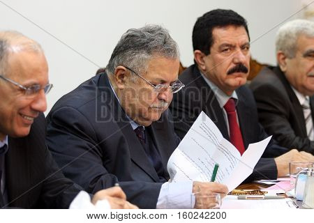 SULAIMANIYA,IRAQ-JANUARY 5:President of Kurdistan Patriots Union Jalal Talabani announced that they will cooperate with Democrate Party at elections on January 5,2008 in Sulaimaniya,Iraq.