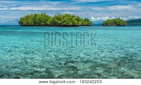 Beautiful Blue Lagoone near Kordiris Homestay, Gam Island, West Papuan, Raja Ampat, Indonesia.
