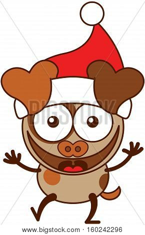 Cute brown dog with hanging ears, spotted fur and wearing a Santa hat while wide opening its eyes, stretching its arms, smiling enthusiastically and greeting