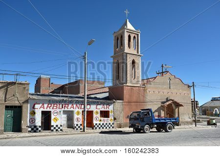 UYUNI BOLIVIA - AUGUST 28 2016: street of Uyuni Bolivia on August 28 2016. Uyuni is a city in the southwest of Bolivia South America.