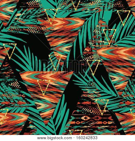 Tribal ethnic seamless pattern with geometric elements and palm leaves. Vector background
